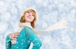 Weihnachtsportrait einer schönen jungen Frau Stockfotos