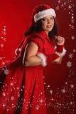 Weihnachtsporträt von schönem plus junge Frau der Größe Lizenzfreie Stockbilder