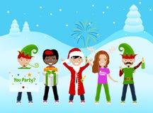 Weihnachtspostkarte mit 5 Charakteren Stockfotografie