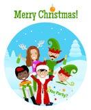 Weihnachtspostkarte mit 5 Charakteren Lizenzfreie Stockbilder