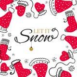 Weihnachtspostkarte mit Gestaltungselementen in der Gekritzelart Text-Ausweis lizenzfreie abbildung