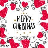 Weihnachtspostkarte mit Gestaltungselementen in der Gekritzelart Text-Ausweis stock abbildung
