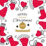 Weihnachtspostkarte mit Gestaltungselementen in der Gekritzelart Text-Ausweis vektor abbildung