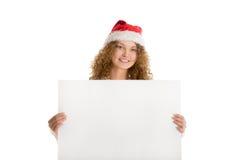 Weihnachtspostkarte mit Mädchen Stockbilder