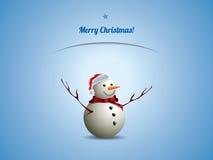Weihnachtspostkarte mit Schneemann Stockfotos