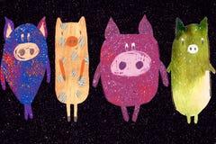 Weihnachtspostkarte mit Schwein lizenzfreie abbildung