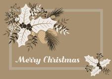 Weihnachtspostkarte mit stilisierten Florenelementen Abbildung der roten Lilie lizenzfreie stockfotografie