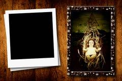 Weihnachtspostkarten leeren Fotorahmen Lizenzfreies Stockfoto