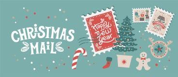 Weihnachtspostsatz mit Weihnachtselementen auf Stempeln lizenzfreie stockfotografie