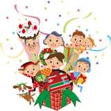 Weihnachtspräsentkartonfamilie stock abbildung
