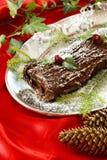 Weihnachtsprotokollkuchen stockbild