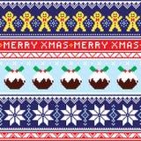 Weihnachtspullover oder nahtloses Muster der Strickjacke mit Lebkuchenmann und Weihnachtspudding Lizenzfreies Stockfoto