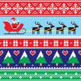 Weihnachtspullover oder nahtloses Muster der Strickjacke mit Sankt und Ren Lizenzfreies Stockfoto
