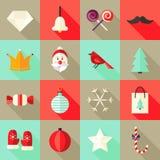 Weihnachtsquadratische flache Ikonen stellten 1 rot und tadellos ein Lizenzfreie Stockfotografie