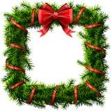 Weihnachtsquadratkranz mit rotem Bogen und Band Lizenzfreies Stockbild