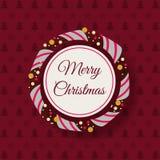 Weihnachtsrahmen auf Hintergrund mit Tannenbäumen und Schneeflocken Stockfoto