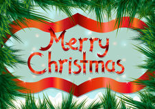 Weihnachtsrahmen auf Kiefernniederlassungen Grußkarte für Weihnachten Lizenzfreies Stockbild