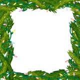 Weihnachtsrahmen gemacht von den Tannenzweigen Stockbild