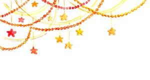 Weihnachtsrahmen - Girlande mit Sternen Aquarelleckgrenze Vektor Abbildung