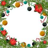 Weihnachtsrahmen mit Bäumen und Poinsettia Stockfoto