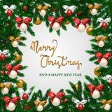Weihnachtsrahmen mit Feiertags-Dekorationen stock abbildung