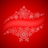 Weihnachtsrahmen mit gezogenen Schneeflockenlinien Lizenzfreies Stockfoto