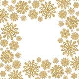 Weihnachtsrahmen mit Goldschneeflocken Grenze von Paillettekonfettis Stockbild