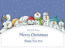 Weihnachtsrahmen mit lustiger Schneemannzeichensatzillustration Stockfotografie