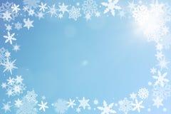 Weihnachtsrahmen mit Schnee Stockfotografie