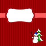 Weihnachtsrahmen mit Schneemann und Tanne Stockbilder