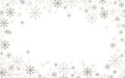 Weihnachtsrahmen mit Silber und weißen Schneeflocken vektor abbildung