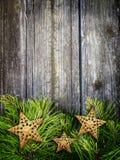 Weihnachtsrahmen mit Sternen Stockfotografie
