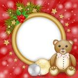 Weihnachtsrahmen mit Teddybären über Niederlassungen und Schneeflocken stock abbildung