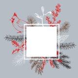 Weihnachtsrahmen mit Vogel und Weihnachtsanlagen Vektor HanddRA Stockbilder