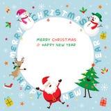 Weihnachtsrahmen, -Santa Claus und -freunde mit Beschriftung Stockbilder