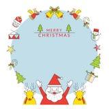 Weihnachtsrahmen, -Santa Claus und -ren mit Linie Ikonen Stockbilder