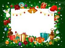 Weihnachtsrahmen von Geschenken und von Baumdekorationen lizenzfreie abbildung