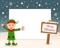Weihnachtsrahmen-Zeichen u. getrunkene grüne Elfe Stockfotografie