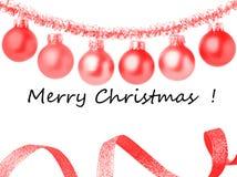 Weihnachtsrahmenkarte mit dekorativen roten Verzierungen Weißer Hintergrund lizenzfreie stockbilder