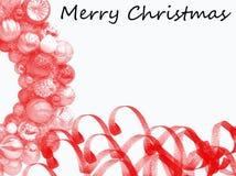 Weihnachtsrahmenkarte mit dekorativen roten Verzierungen Weißer Hintergrund stockfotografie
