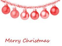 Weihnachtsrahmenkarte mit dekorativen roten Verzierungen Weißer Hintergrund stockfotos