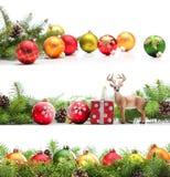 Weihnachtsrand-Ansammlung lizenzfreie stockfotos