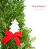 Weihnachtsrand auf Weiß Lizenzfreie Stockfotos