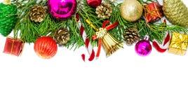 Weihnachtsrand auf weißem Hintergrund Stockfoto