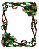 Weihnachtsrand-Farbbänder und Stechpalme Stockfoto