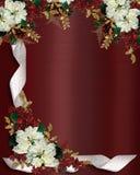 Weihnachtsrandblumen und -farbband Lizenzfreie Stockfotografie