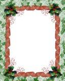 Weihnachtsrandfarbbänder und -stechpalme Stockfotografie
