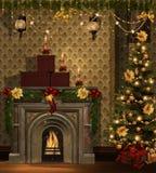 Weihnachtsraum mit goldenen Dekorationen Lizenzfreie Stockfotos