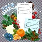 Weihnachtsrealistische Vektorpapierillustration Weißes Lockenpapier mit gebogenen Ecken und Weihnachtsbaumasten Lizenzfreie Stockbilder