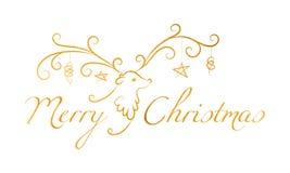 Weihnachtsren mit Text frohen Weihnachten Stockbild